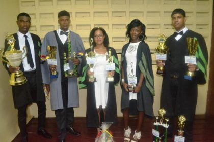 Top students from left to right - Paul Whyte, Jamaul Wilson, Anisa Mancey, Tanisha Thompson and Rabindranauth Mohal