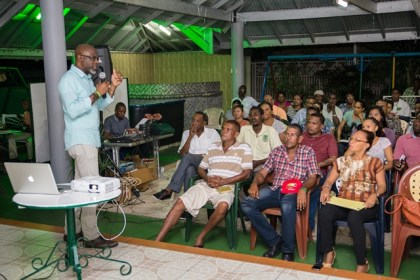 Presidential Adviser on the Environment, Rear Admiral (rtd) Gary Best addressing Bartica residents during an interactive forum at Leanna's Kiddies Park, Fifth Avenue Bartica