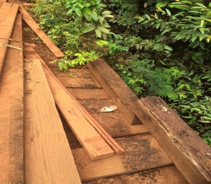 Photo of curb separated from bridge