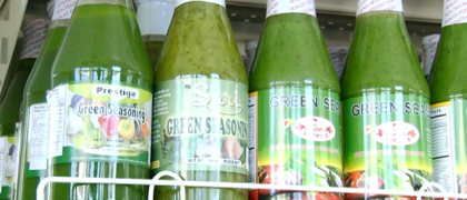 Locally manufactured, green seasoning on sale at the Guyana Shop