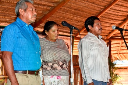 Members of the Hallelujah Group from Tasserene Village reciting a worship chant in their native language