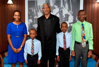 From left: Ms. Marcia Allen, Alex Garraway, President David Granger, Allistair Garraway and George Allen at the Ministry of the Presidency