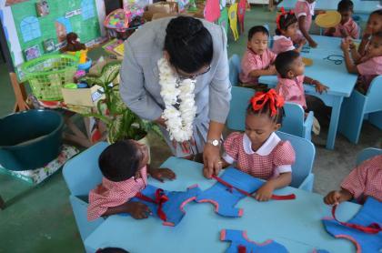 Mrs. Sita Nagamootoo interacting with pupils at the Waterloo Nursery School