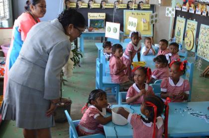 Mrs. Sita Nagamootoo and students of the Waterloo Nursery School