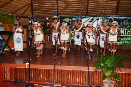 An indigenous group performing a cultural dance at the launch of Indigenous Heritage Month at the Heritage Village, Sophia Complex