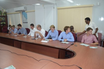 Sitting- the seven – man Dutch engineering team which conducted Project Georgetown