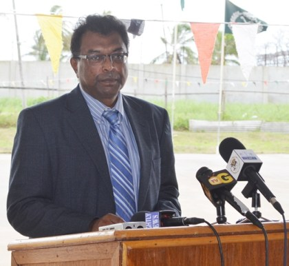 Khemraj Ramjattan, Minister of Public Security, addressing Graduate Prison Officers at the Cecil Kilkenny Prison Officers' Training School, Lusignan
