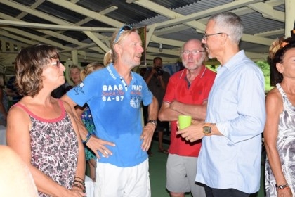 Minister of Business, Dominic Gaskin, interacting with yachters