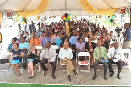 Minister of Education, Dr. Rupert Roopnaraine among stakeholders at the launch of Education Month 2016 at the Ministry of Education, Brickdam