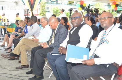 Second  from right: Marcel Raymond Hutson, Chief Education Officer (acting).