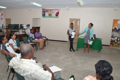 Trainees making their presentations at the commencement of the First Aid CPR Training Workshop hosted by the Guyana Tourism Authority in collaboration with the Guyana Red Cross Society