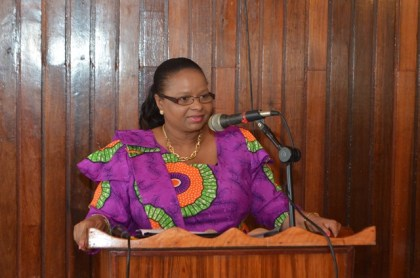Minister of Social Protection Volda Lawrence addressing the gathering at the Presbyterian Church of Guyana Women's convention