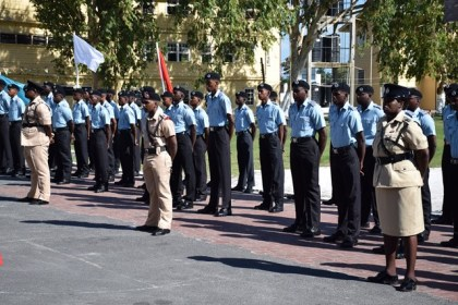 The new recruits during their passing out parade
