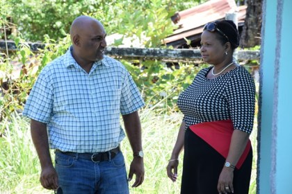 Minister of Social Protection, Volda Lawrence and Mayor Ganesh gangadin during the tour of the abandoned Domestic Violence home in Corriverton