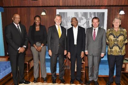 From L-R- Minister of State, Mr. Joseph Harmon, Advisor on Climate Change at the Ministry of the Presidency, Ms. Ndibi Schwiers-Ceres, Germany's Ambassador to Guyana, Mr. Lutz Hermann Gorgens, President David Granger, Germany's Regional Director for Latin America and the Caribbean, Ambassador Dieter Lamle and Honorary Consul of Germany to Guyana, Mr. Ben Ter Welle