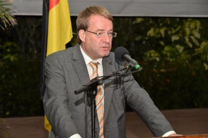 Germany's Regional Director for Latin America and the Caribbean, Ambassador Dieter Lamle bringing greetings on behalf of the Government of Germany on the occasion of Guyana's 50th Independence Anniversary.