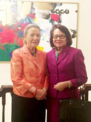 First Lady Mrs. Sandra Granger and Wife of the UN Secretary General, Mrs.  Ban Soon-taek