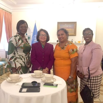 From left: First Lady of Burkina Faso, Mrs. Sika Bella Kabore, First Lady Mrs. Sandra Granger, First Lady of Tuvalu, Mrs. Salilo Enele and Guyana Consul General Ms. Barbara Atherly