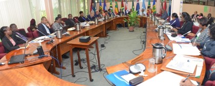 Participants of the Regional Consultation on the Establishment of a Regional Tripartite Social Dialogue Mechanism and Regional Social Protection Floor at the CARICOM Secretariat, Turkeyen, Greater Georgetown