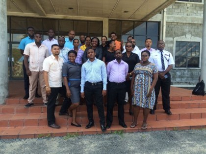 Presenters and Participants in the Trafficking in Persons Training Course for Investigators from the Guyana Police Force's Criminal Investigations Department, Major Crimes Unit