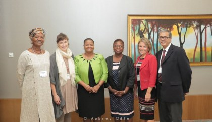 Minister of Social Protection, Hon. Volda Lawrence with Director of the IMPACT JUSTICE Project, Prof. Velma Newton [to Minister's left] and facilitators of the five-day workshop in Guyana. At Minister's left are Ms. Hilary Linton and Ms. Ms. Regina Thompson, while Mr. Akbar Ebrahim and Ms. Michelle Walton are to the far right. They are all part of the Riverdale Mediation team, Canada