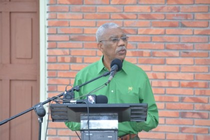 President David Granger, who is also the Leader of the People's National Congress (PNC) delivering his address to members and well wishers at the Partys's 59th Anniversary Flag Raising ceremony earlier this morning.