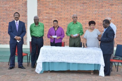 From left: Chairman of the PNC, Mr. Basil Williams, General Secretary, Mr. Oscar Clarke, Vice Chairman, Ms. Volda Lawrence, President David Granger, Chief Whip and Assistant General Secretary, Ms. Amna Ally and Pastor Terrence Esseboom.