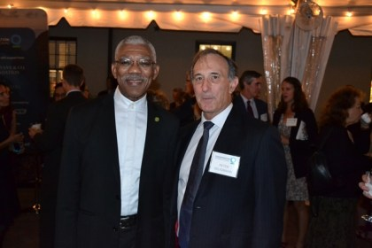 President David Granger and Chairman, Chief Executive Officer and Co-founder of Conservation International (CI), Mr. Peter Seligmann just before the Official Board dinner, last night.