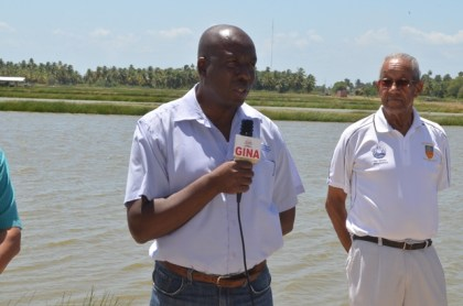 Permanent Secretary of the Ministry of Agriculture George Jarvis and Aquaculture farm owner, Jeffrey Fraser.