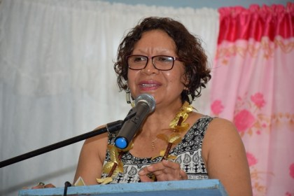Minister within the Ministry of Indigenous Peoples Affairs, Valerie Garrido-Lowe speaking to the youths who graduated from the Warrau Language project