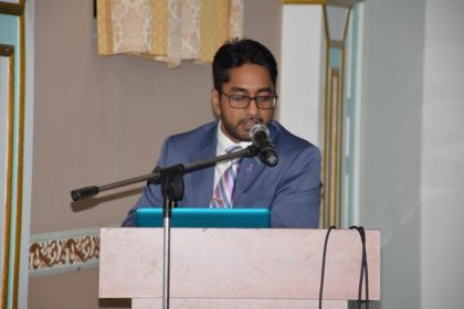 Dr. Vikash Chatrani, Obstetrician/Gynaecologist, Gynae-Oncologist, Queen Elizabeth Hospital Barbados making the presentation on the HPV vaccine.