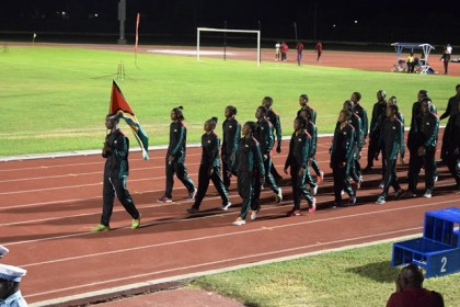 Athletes representing Guyana during their March pass