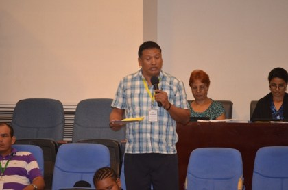 Senior Councillor Paul Atkinson of Santa Rosa Village, Region One raising a concern about land at the 2016 National Toshaos Council (NTC) Conference