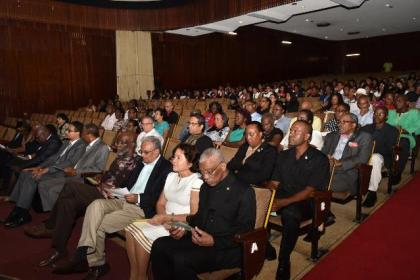 President David Granger, First Lady Mrs. Sandra Granger, Minister of Education, Dr. Rupert Roopnarine  and Advisor to the Minister of Education, Vincent Alexander seated in the audience at the National Cultural Centre