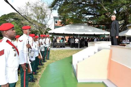 President David Granger takes the Presidential salute from the ranks of the Guyana Defence Force, upon his arrival at the event held earlier this morning.