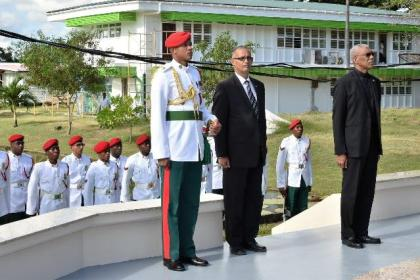 His Excellency, President David Granger observing a minute of silence for the victims of Cubana Air Disaster.