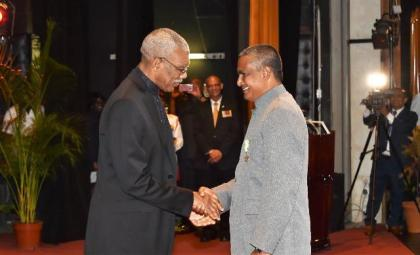 Mr. William Cox, Political Advisor to the President at  the Ministry of the Presidency received the Golden Arrow of Achievement for his outstanding years of public service to the people of Guyana.
