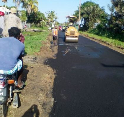 Ongoing road works in Leguan