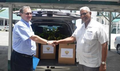 Minister Noel Holder while receiving the Poui trees from Russian Ambassador Nikolay Smirnov