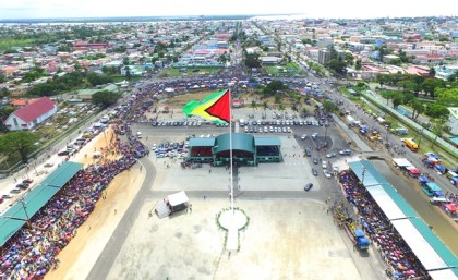 Aerial view of D'Urban Park during the 50th Independence Anniversary celebrations