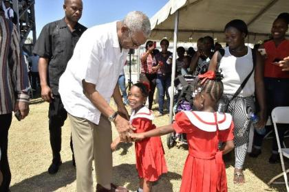 These girls were very eager to meet President David Granger, when he arrived at the Lady Sendall Park.