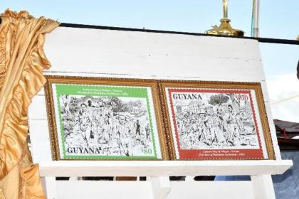 The Village Stamps, which were unveiled by the Village and the Guyana Post Office, today, at the Lady Sendall Park, Victoria Village, in observance of the National Day of Villages.