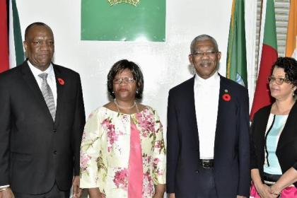 President David Granger poses with (from left) Acting Minister of Foreign Affairs, Hon. Joseph Harmon, non-resident High Commissioner of the Republic of South Africa to Guyana, Her Excellency Xoliswa Nomathamsanqa Ngwevela and Director General of the Ministry of Foreign Affairs, Ambassador Audrey Waddell