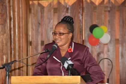 Minister within the Ministry of Public Infrastructure, Annette Ferguson delivering remarks at the launch of the 2016 State of the World Population Report at the Umana Yana