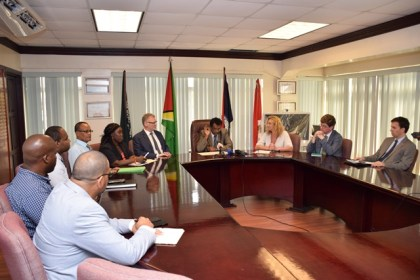 Minister of Public Security, Khemraj Ramjattan speaking with the media at the Ministry on the signing of the MoU for the implementation of  the Seaport Cooperation Programme (SEACOP) in Guyana