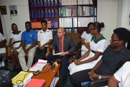 Minister of Pulic Health Dr. George Norton meeting with nursing students representing the four Nursing Schools to hear their views with regards to re-writing the final nursing examinations