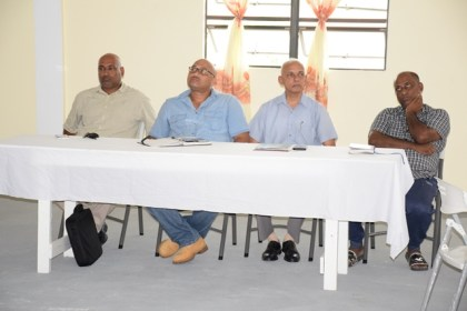 Minister of Communities, Ronald Bulkan with the Mayors of Rose Hall, Corriverton and New Amsterdam during an engagement with the councillors of the three municipalities in the Central Corentyne Chambers of Commerce building