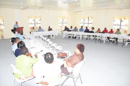 Minister of Communities, Ronald Bulkan addressing the Mayors, Deputy Mayors and councillors of Rose Hall, Corriverton and New Amsterdam on the issue of property tax valuation, during an engagement at the Central Corentyne Chambers of Commerce building