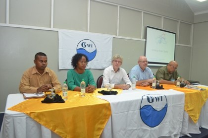 GWI's Managing Director, Dr. Richard Van West Charles and Infrastructure Planning and Implementation Director, Ramchand Jailall and officials from WOW  including Chairman, Casper Ommen and  Expert, water treatment, Jacques van Paassen, at the opening of the five-day water resource and treatment seminar