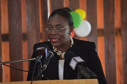Minister within the Ministry of Education, Nicolette Henry addressing the gathering at the launch of the 2016 State of the World Population Report at the Umana Yana